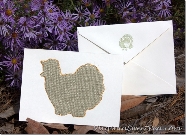 Burlap Turkey Thanksgiving Card