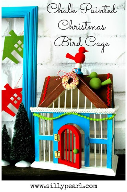 Chalk Painted Christmas Bird Cage - The Silly Pearl #chalkyfinish #decoartprojects