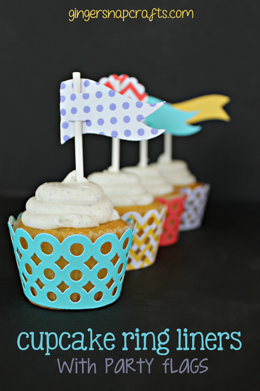 Cupcake Ring Liners with Party Favors at GingerSnapCrafts.com #wermemorykeepers #papercraft #spon