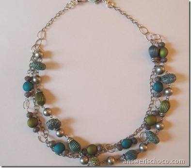 Blue Moon Beads Kiwi and Teal Necklace