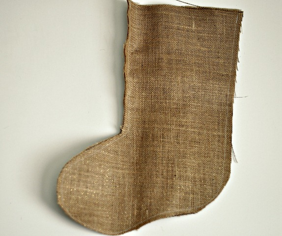 Burlap Stocking Step 2