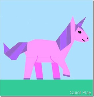 Unicorn paper pieced pattern in pink and purple