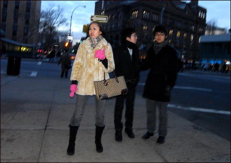 w fur coat pink mittens burberry scarf gucci bag ol