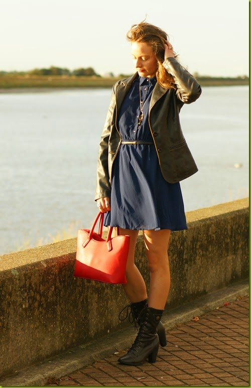 navy skater dress with jacket