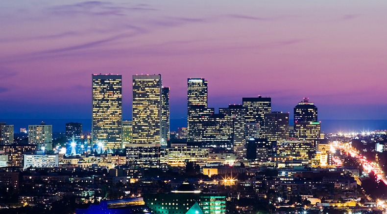 los angeles skyline at dusk. view of century city
