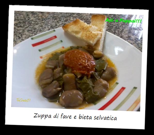 Fotografia del piatto zuppa di fave e bieta selvatica