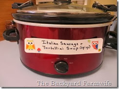 crock pot labels - The Backyard Farmwife