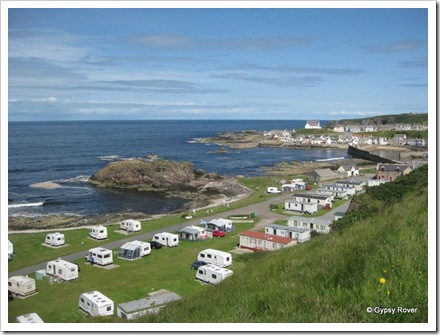 Privately owned caravan site on the sea front at Findochty.