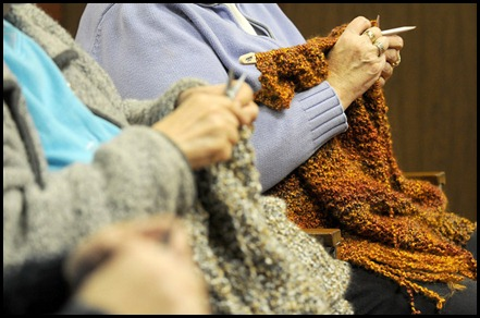 A group of Chilliwack women gather regularly on Monday evenings and Wednesday afternoons at Community of Christ Church to knit prayer shawls for those in the community suffering illness, heartbreak, financial strain, or other such turmoil in hopes of providing them a glimmer of comfort in their time of need.