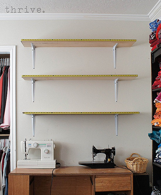 Use busted measuring tapes to decorate shelves - choosetothrive.blogspot.com