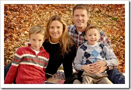the family in the leaves texture background