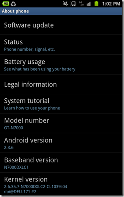 Android 2.3.6 gingerbread