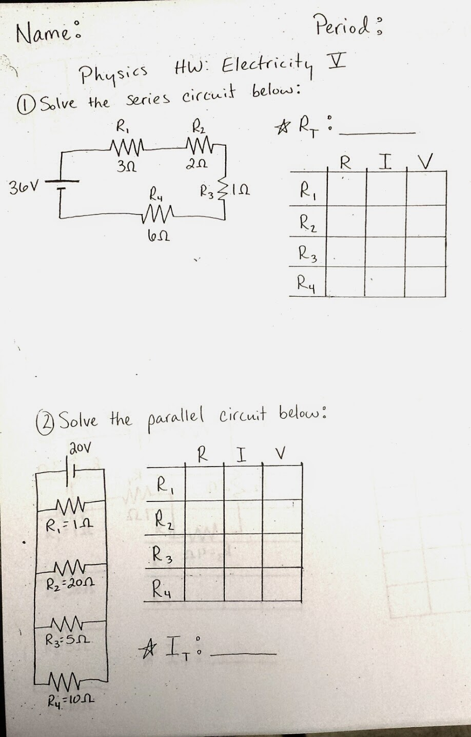 Physics At Desert View High School April 2014 Circuit Diagram Worksheet Today We Are Reviewing Series And Parallel Circuits Your Homework Is Electricity V