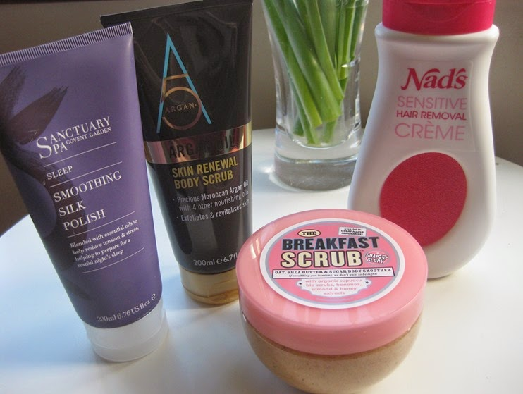 Argan5-Skin-Renenwal-Body-Scrub,Sanctuary-Smoothing-Silk-Polish,Soap&Glory-Breakfast-Scrub,NADS-Sensitive-Hair-Removal-Creme-Cream-review