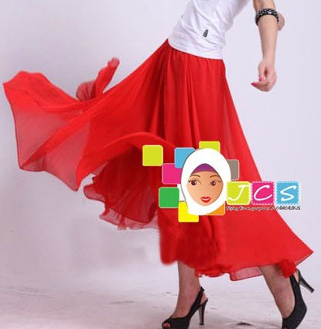 AWESOME CHIFFON CREPE RED