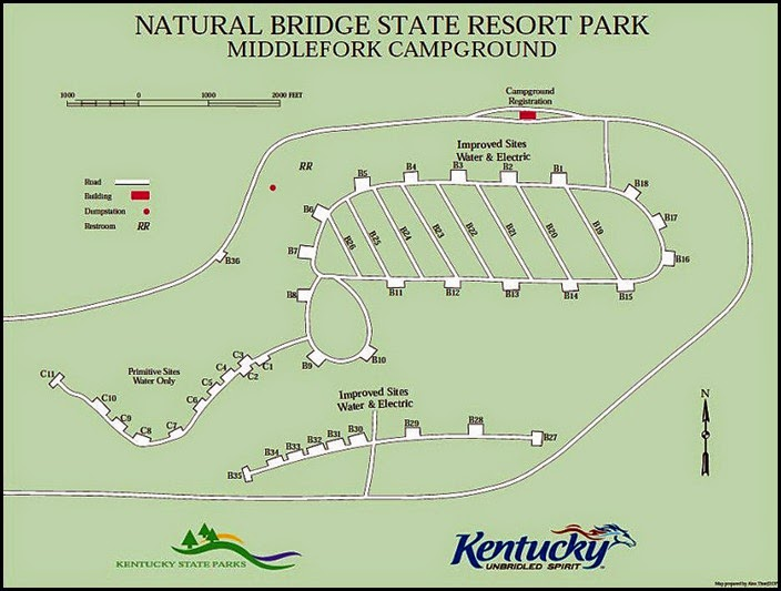 00b1 - Natural Bridge State Park - Middle Fork Campground Map