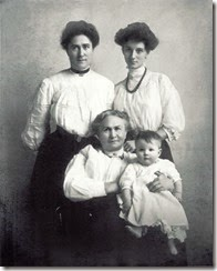 1907-MILNE_Florence nee BOWDEN with her mother Florence HUNTER_grandmother Susan BOGGS & daughter Dorothy MILNE_restored photo
