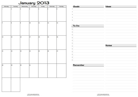 2013 Monthly Planner Page Spread