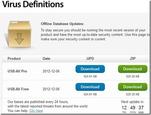 USB-AV download aggiornamenti definizioni virus