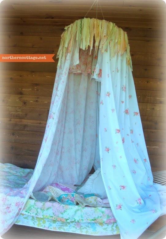 {NorthernCottage} Breezy Vintage Sheet Canopy