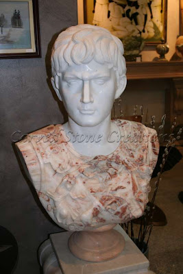 Bust Of Caesar Augustus In Mixed Marble