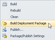 ASP.NET Web Project's Build Deployment Package context menu option