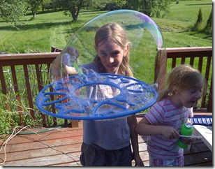 My niece Sydney and an awfully large bubble