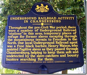 Underground Railroad Activity In Chambersburg marker in PA
