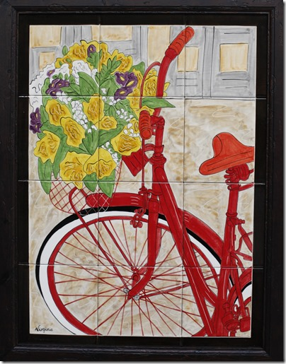 Red Bike and Blossoms C Virginia Arregui
