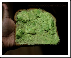 Bread slice with avocado spread