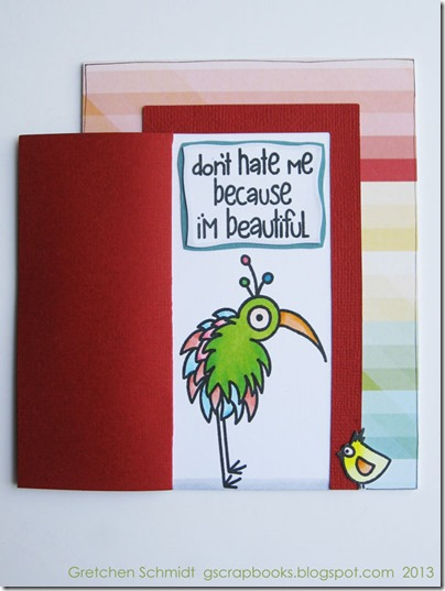 don't hate me because I'm beautiful door card by Gretchen Schmidt @gscrapbooks
