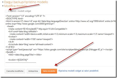 modifica XML modello blogger