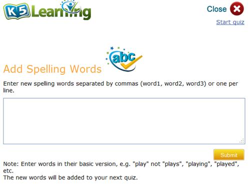 k5 spelling list
