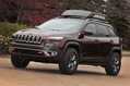 """The Jeep® Cherokee Trail Carver is for trail addicts seeking a vehicle with the capabilities to handle the rugged off-road, while projecting a unique, customized and luxurious look on the streets. It is one of 20 Mopar-modified vehicles that are headed to the 2013 SEMA show in Las Vegas in November."""