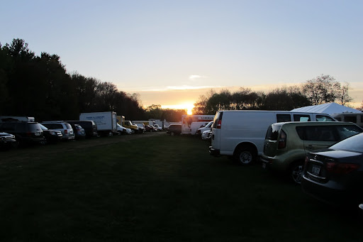 Daybreak on the first day of Brimfield and the parking lots are already filling up.