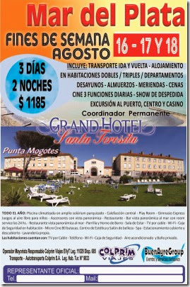 Mar del Plata FINES DE SEMANA AGOSTO Grand Hotel Santa Teresita 3D 2N PC FREE