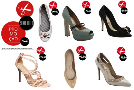 Promoção sapatos Santa Lolla Verão 2012 com preços reduzidos.