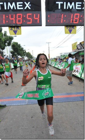 Gemma Payong ruled the women's 21-K division by clocking in at 1-48-53 at the 37th National MILO Marathon Naga qualifying leg