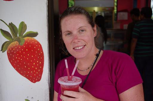 Heather enjoying a fresh strawberry juice.