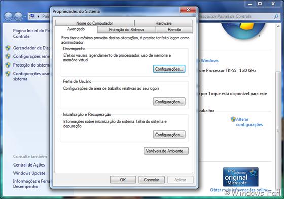 Clique em Configurações avançadas do sistema, no painel esquerdo. Uma janela irá abrir. Clique em Configurações, no menu Desempenho (primeiro botão). Uma nova janela irá abrir