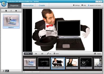 Tela do Wondershare DVD Slideshow Builder Free (Imagem do Baixaki.com.br)