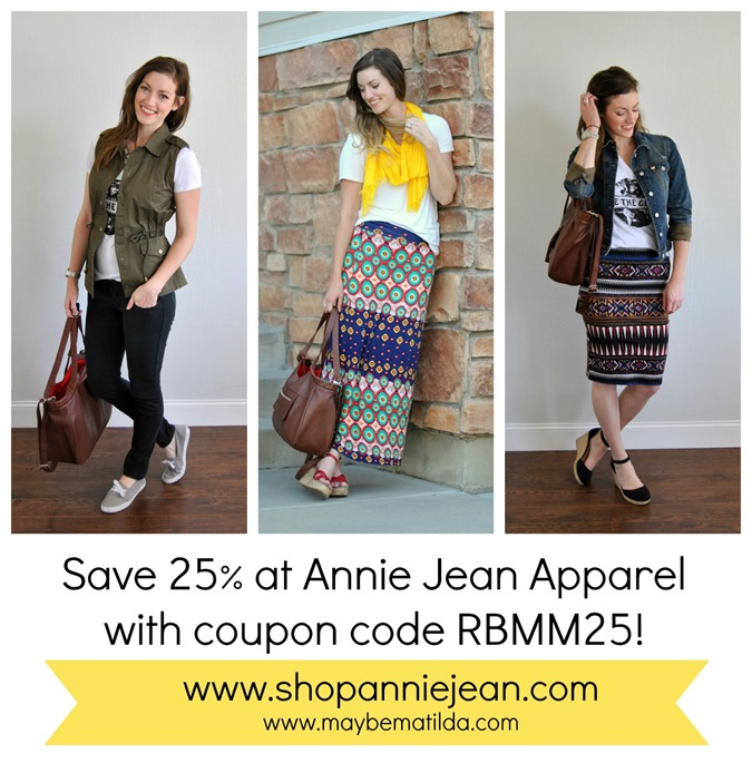 Save 25% at Annie Jean Apparel this month!!!