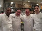 Chef Emeril was working in the kitchen all night alongside, from left to right, Chef Bernard, Emeril's Director of Culinary for Florida, Chef Jason from Emeril's Orlando, and Chef Greg from Tchoup Tchoup.