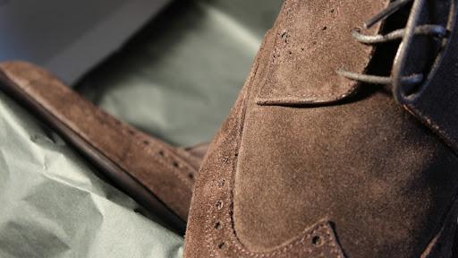 scarpe francesine scamosciate