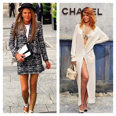 anna dello russo y rihanna at chanel haute couture show 2013