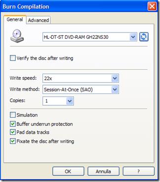 LightMan Writer opzioni e avvio masterizzazione