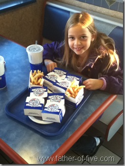 At White Castle with my daughter