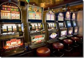 Row of slot machines in a cruise ship