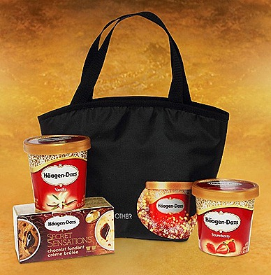 HAAGEN-DAZS FESTIVE TREASURE  gift set with limited-edition cooler bag with 2 pints Secret Sensations twin pack