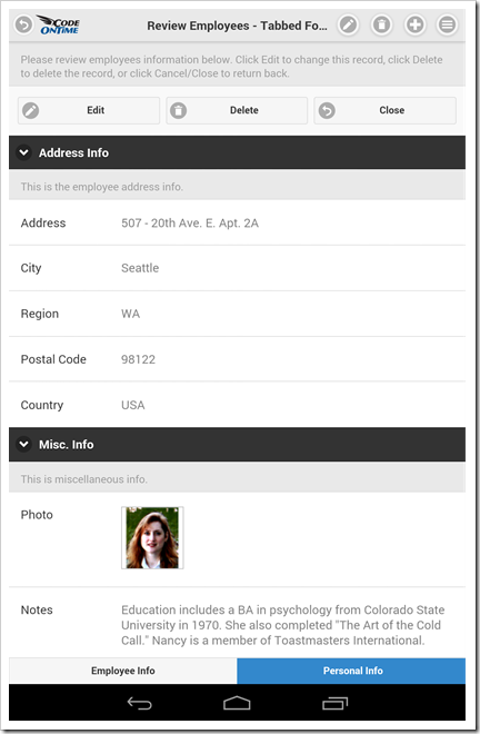 A form view with multiple categories and tabs in a mobile app created with Code On Time app generator.